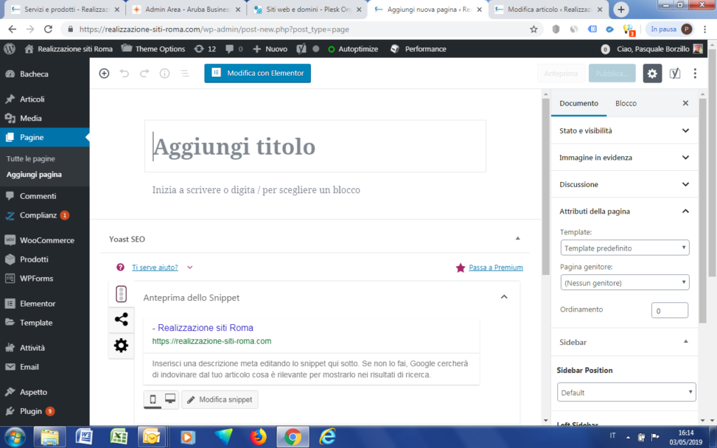 Schermata di pagina WordPress vuota