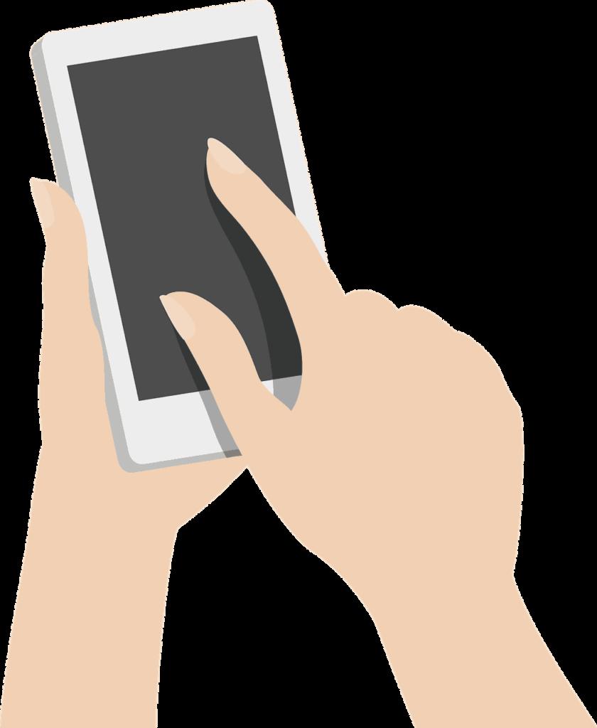 Rappresentazione illustrata di persona che digita su smartphone